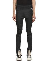 Rick Owens DRKSHDW Black Wax Slit Front Legging Jeans