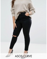 Asos Curve Curve Ridley Skinny Jeans In Clean Black With Rip Destroy Busts