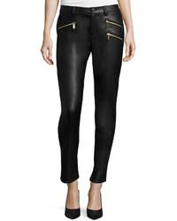 MICHAEL Michael Kors Michl Michl Kors Faux Leather Zip Skinny Jeans Black