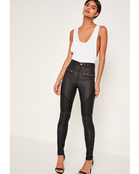 Missguided Black Coated Biker Skinny Jeans