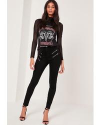 Missguided Multi Zip Skinny Jeans Black