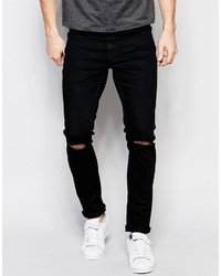 ONLY & SONS Black Jeans In Super Skinny Fit With Knee Rips