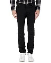 Saint Laurent Raw Denim Skinny Jeans Black