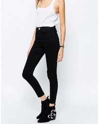 Asos Ridley High Waist Skinny Jeans In Clean Black