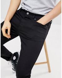 Pier One Skinny Fit Jeans In Black Denim
