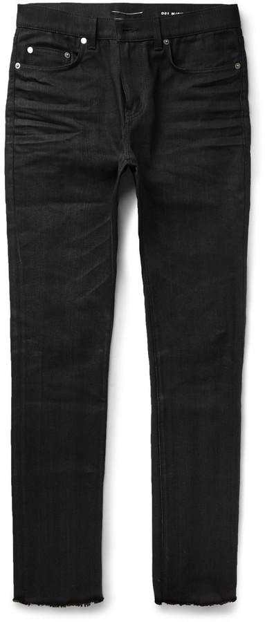 686e6114da1 ... Black Skinny Jeans Saint Laurent Skinny Fit Raw Hem Denim Jeans ...