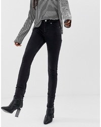 Weekday Thursday High Waisted Skinny Jeans In Black