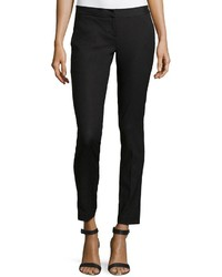 Neiman Marcus Cotton Blend Skinny Pants Black