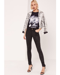 Missguided Faux Suede Skinny Trousers Black