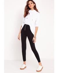Missguided Zip Detail Ponte Skinny Fit Pants Black