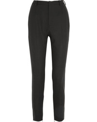 Saint Laurent Wool Crepe Slim Leg Tuxedo Pants