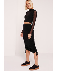 Missguided Jersey Rib Ruched Side Midi Skirt Black