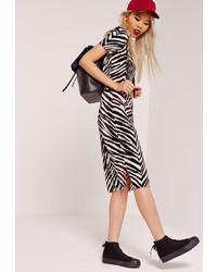 Missguided Zebra Crinkle Midi Skirt Black