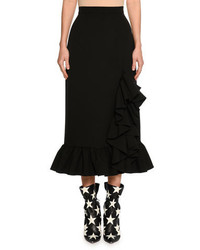 MSGM Ruffled Hem High Rise Midi Skirt Black