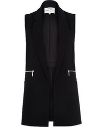 River Island Black Jersey Relaxed Sleeveless Blazer