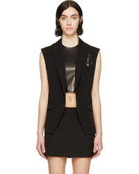 Anthony Vaccarello Black Pinned Anchor Emblem Vest