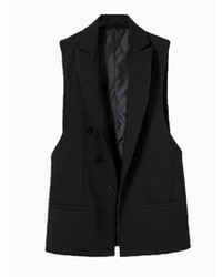 Choies Black Lapel Sleeveless Coat