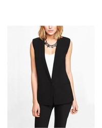 Express 27 Inch Sleeveless One Button Jacket Black 0