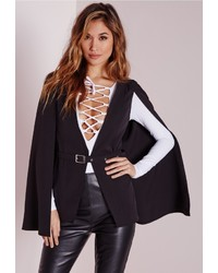 Missguided Belted Cape Blazer Black