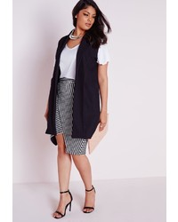 Missguided Plus Size Sleeveless Stretch Crepe Blazer Black