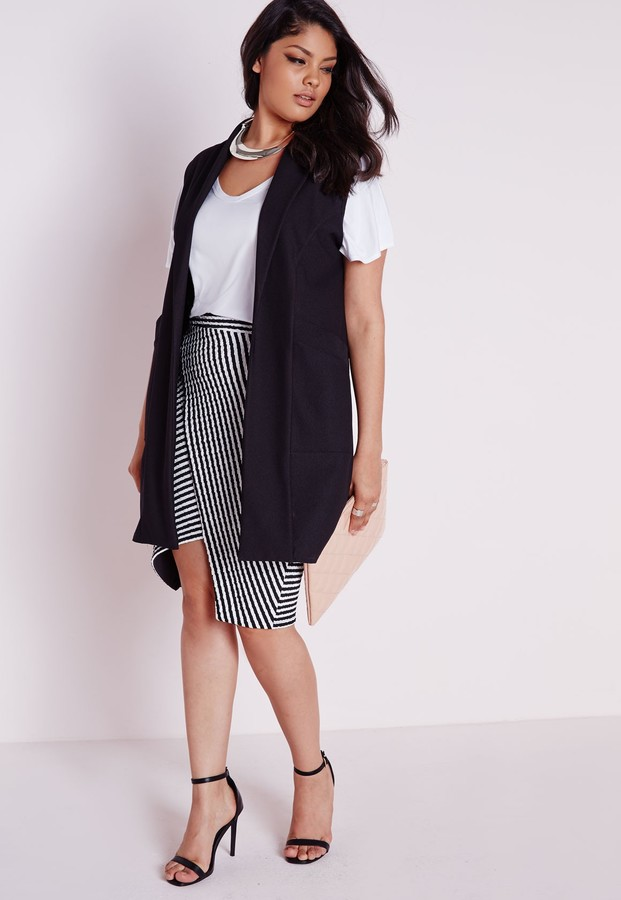 16f9d7de50c Missguided Plus Size Sleeveless Stretch Crepe Blazer Black