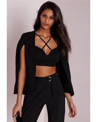 Missguided Structured Cape Blazer Black