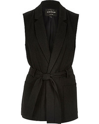 River Island Black Pin Stripe Belted Sleeveless Jacket
