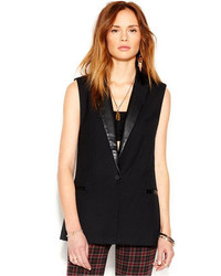 Sanctuary Sleeveless Notched Lapel Faux Leather Trim Blazer
