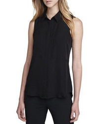 Black Sleeveless Button Down Shirt