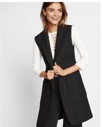 Black wool blend sleeveless coat medium 5027819