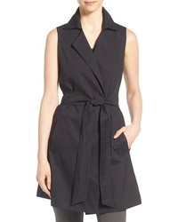 Eileen Fisher Linen Blend Belted Notch Collar Sleeveless Coat