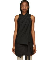 Helmut Lang Black Crepe Draped Front Ascend Blouse