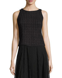 Nic+Zoe Nightscape Ribbed Sleeveless Top Black Onyx
