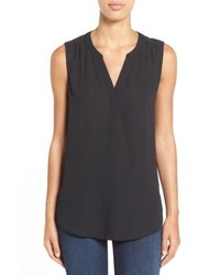 NYDJ Pleat Back Sleeveless Split Neck Blouse