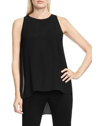 Vince Camuto Petite Sleeveless Crepe Highlow Top
