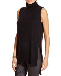 Aqua Cashmere Turtleneck Highlow Sleeveless Sweater