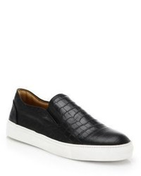Saks Fifth Avenue Collection Croc Embossed Leather Slip On Sneakers
