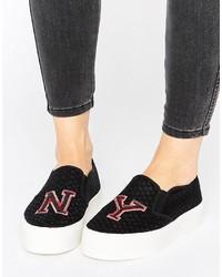Asos Dollar Patch Slip On Sneakers