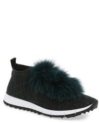 Jimmy Choo Norway Genuine Fox Fur Trim Slip On Sneaker