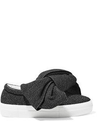 Joshua Sanders Knotted Glittered Lurex Slip On Sneakers Black
