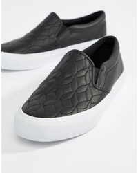 ASOS DESIGN Slip On Plimsolls In Black With