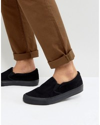Asos Slip On Sneakers In Black Cord With Black Sole
