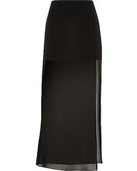 Black chiffon layered maxi skirt medium 208955