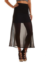 Charlotte russe double slit chiffon maxi skirt medium 208944