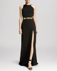Halston Heritage Gown Asymmetric Strap Slit Front