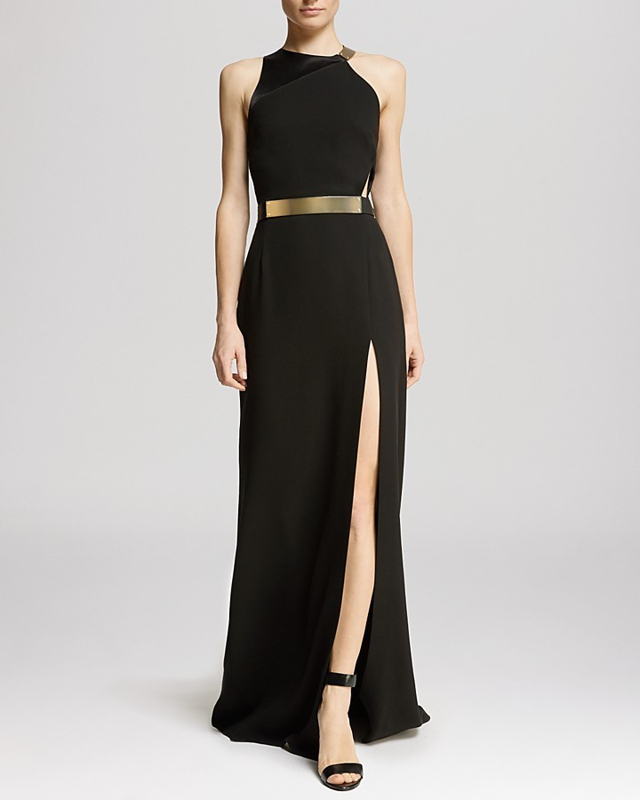 Halston Heritage Gown Asymmetric Strap Slit Front | Where to buy ...