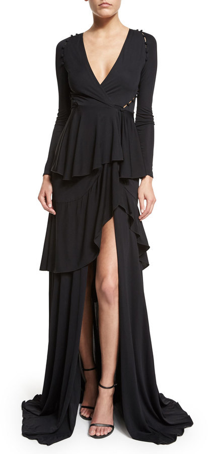 Roberto Cavalli Long Sleeve Tiered High Gown Black