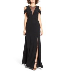 Morgan Co Illusion Mesh Gown