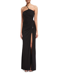 Versace One Shoulder Ruched Jersey Gown Black