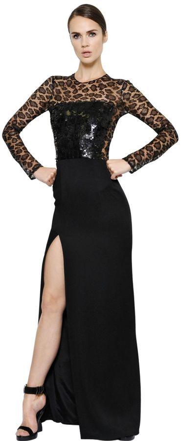09102703e9 ... Black Slit Lace Evening Dresses Alexander McQueen Sequin Embellished  Crepe Satin Dress ...